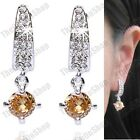 3cm CLIP ON cubic zirconia CHAMPAGNE CZ crystal EARRINGS silver fashion dropper
