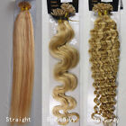 """18""""-32"""" Nail U Tip Real Remy Human Hair Extensions Straight Wavy Curly #27/613"""