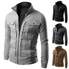 Stylish Mens Slim Fit Stand Collar Coat Tops Military Jacket Outwear Blazer XS-L