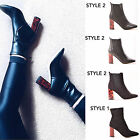 LADIES WOMENS ANKLE BOOTS TORTOISE BLOCK HEEL CASUAL FASHION BLOGGER SHOES SIZE