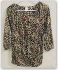 Faded Glory women's 3/4 Sleeve Peasant top urban khaki animal print SMALL 4-6