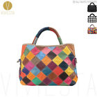 Women's Large Real Cowhide Leather Checkered Patchwork Shoulder Tote Bag Handbag