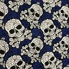 "Paisley Skulls Navy with White Skulls Poly Cotton fabric material 115cm 45"" RO"