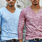 Cotton blends Men's Slim Fit Long Sleeve V-neck T-shirt Casual Tee Tops Pullover