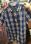 Authentic NWT Tommy Hilfiger Mens Short Sleeve Shirt Blue Plaid Size S