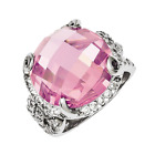 925 Sterling Silver Pink & White Cubic Zirconia Checkeredboard Round Ring