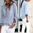 Fashion Women Striped Lady Casual Cotton Long Sleeve Loose Shirt Blouse Tops