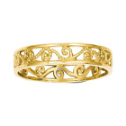 14k Yellow Gold Cut Out Roped Scroll Wedding Band