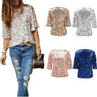 Ladies Sparkle Shine Glitter Sequin Blouse Cocktail Party Tops Fashion Shirt Hot