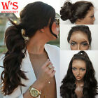 Best Lace Front Wigs For Womens Girls 100% Remy Human Hair Full Lace Wig uk #1B