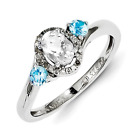 925 Sterling Silver White Topaz, Blue Topaz and Diamond 3-Stone Ring - 0.08cttw