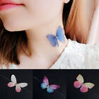 Women Colorful 3D Crystal Yarn Butterfly Choker Invisible Fishline Silk Necklace