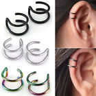 Stainless Steel 2-row Fake Cartilage Ear Nose Lip Cuff Clip Earring Gift Dreamed