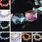 5pcs 20mm Big Hexagon Faceted Crystal Glass Charms Loose Spacer Beads Findings