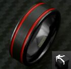 8mm Black Tungsten Men's Double Red Racing Stripes Wedding Band