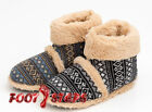 Mens Coolers Fairisle Fair Isle Knitted Slipper Boots Faux Sheepskin Furry Lined