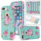 Rose Flower Pattern Printing Heavy Duty Hybrid Shockproof Case Cover For iPhone