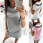 Kyпить UK Womens Hollow Lace Long Tops T-Shirt Short Sleeve Casual Mini Dress Blouse на еВаy.соm