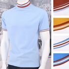 Get Up Tipped Turtle Neck All Cotton Pique Short Sleeve Retro Sports T-shirt