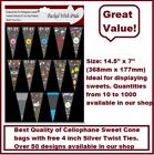 """TOP QUALITY UNIQUE LARGE CELLO CONE BAGS WITH 4"""" TWIST TIES - PARTY BAGS SWEETS"""