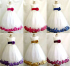 New ivory flower girl dress gold  rose petals size 6M 12M 18M 2 4 6 8 10 12 14