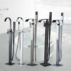 Bathroom Tub Faucet Floor Mount Tub Filler with Hand Shower Free Standing Tap