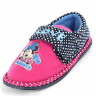 Girls Size 9 - 12 MINNIE MOUSE Black Pink Slippers Touch Fastening Disney NEW