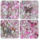 Berties Beads Seasonal Bead Mix Assortment Pink White Clear Joblot