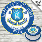 EVERTON FOOTBALL CLUB ROUND BIRTHDAY CAKE TOPPER DECORATION PERSONALISED