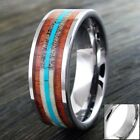 8mm Tungsten Men's Turquoise Deer Antler Hawaiian Koa Wood Wedding Band