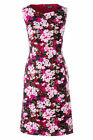 Lands End Sleeveless Ponte Sheath Dress Rich Cardinal Multi Floral New