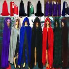 Halloween Cosplay Velvet Hooded Cloak Wicca Robe Medieval Witchcraft Larp Cape