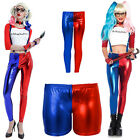 New Girls Suicide Squad Harley Quinn Leggings and Shorts Costume Fancy Dress