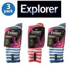 3 Pack Holeproof Explorer Womens Light Weight Cotton Hiking Socks Blue Pink 3 8
