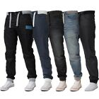 New Mens ENZO Cuffed Denim Joggers Jeans Black Fashion All Big King Sizes