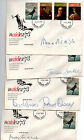 4 FDCs 1979 Set of 4 SG931/932/933/934 naidex'73 autographed by celebrities