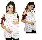 Burgundy Short Sleeve Maternity Stripped White Blouse Rocker Punk Bow
