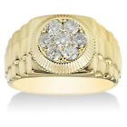 Mens 3/4ct Diamond Ring Solid 14K Yellow Gold