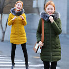 2017 Womens Winter Down Cotton Coat Jacket long parka Outwear with Fur Collar