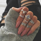 7Pcs/Set Vintage Bohemian Gemstone Knuckle Rings Midi Fashion Jewelry Rings Set