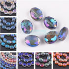 50pcs 12x6mm Charms Flat Oval Faceted Glass Crystal Findings Loose Spacer Beads