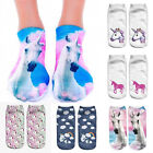 Fashion Women 3D Unicorn Print Socks Men Unisex Low Cut Funny Ankle Cotton Socks