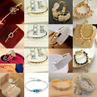 Women Gold Silver Pearl Cuff Bangle Men Charm Infinity Bracelet Lot