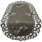 Table Runner, Doily, Mantel Scarf with Pink Roses on Sage Green Burlap Fabric