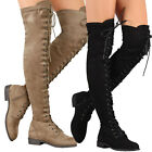 Women Round Toe Vegan Suede Military Combat Over The Knee High Boots Lace Up