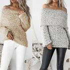 New Women Sweaters Sexy Off Shoulder Slash Neck Long Sleeve Knitted Pullovers