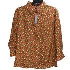 New Lands' End Supima Cotton Citrus Print No Iron Shirt New 3/4 Sleeve Blouse