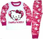 Girls Hello Kitty Butterfly Pink Camouflage Pajamas 2 Pc Set ~ Ages 2 to 6