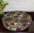 AF259r Green Olive Flower Cotton Canvas 3D Round Seat Cushion Cover Custom Size