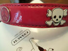 New COACH last one PEACE & SKULL GROMMET PINK PATENT LEATHER XS DOG COLLAR XS